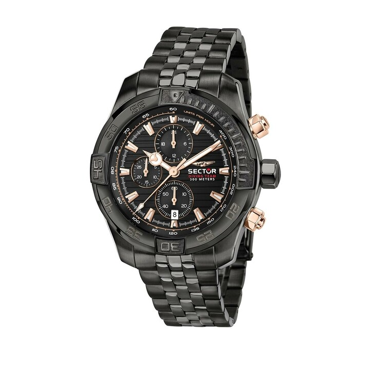watches, Sector, 45MmIp Black Case Chrono Mvt Dial Bracelet  Black