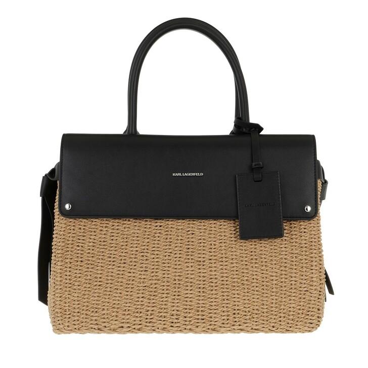 Handtasche, Karl Lagerfeld, Ikon Raffia Top Handle Natural