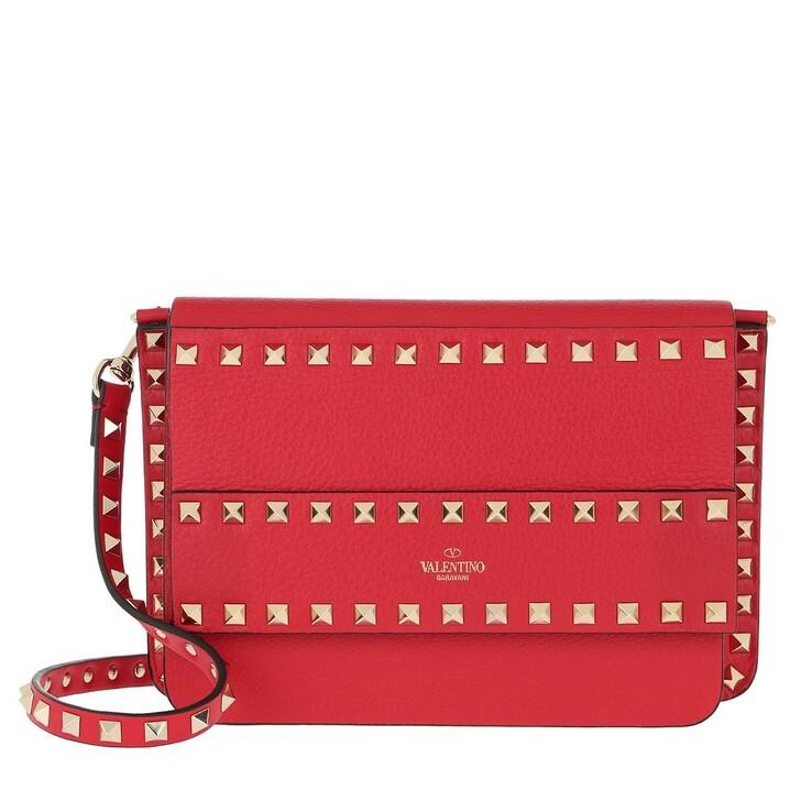 bags, Valentino Garavani, Rockstud Shoulder Bag Leather Rouge Pur