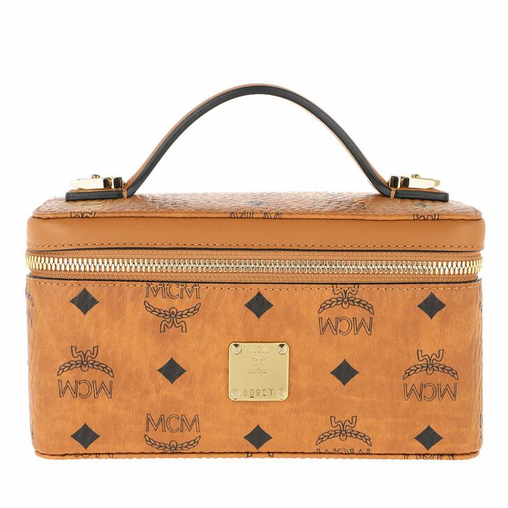 Handtasche, MCM, Visetos Org Rockst Vanity Case Mini   Cognac
