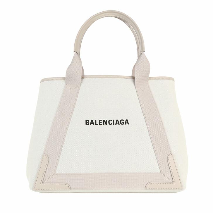 bags, Balenciaga, Medium Navy Cabas Tote Bag Natural/Cold Beige