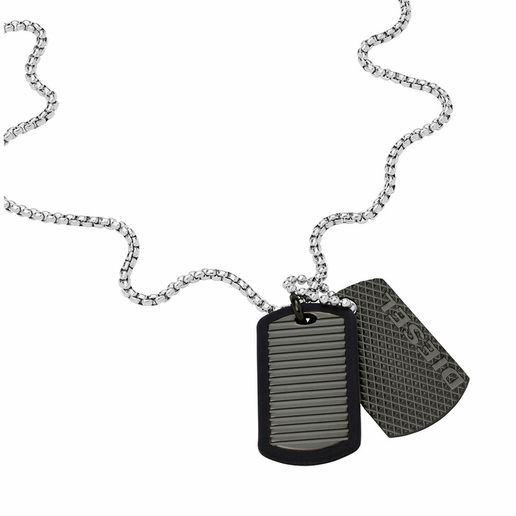 necklaces, Diesel, Men's Stainless Steel Dog Tag Necklace DX1314040 Silver
