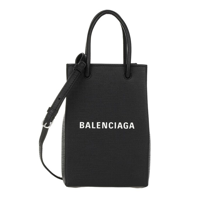 Smartphone/Tablet case (Case), Balenciaga, Shopping Phone Holder Bag Leather Black