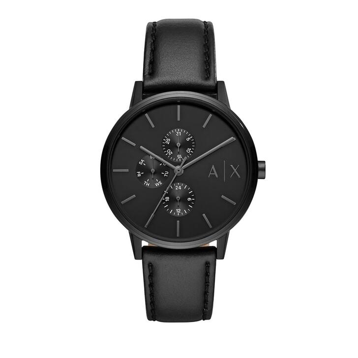 Uhr, Armani Exchange, Multifunction Black Leather Watch Black