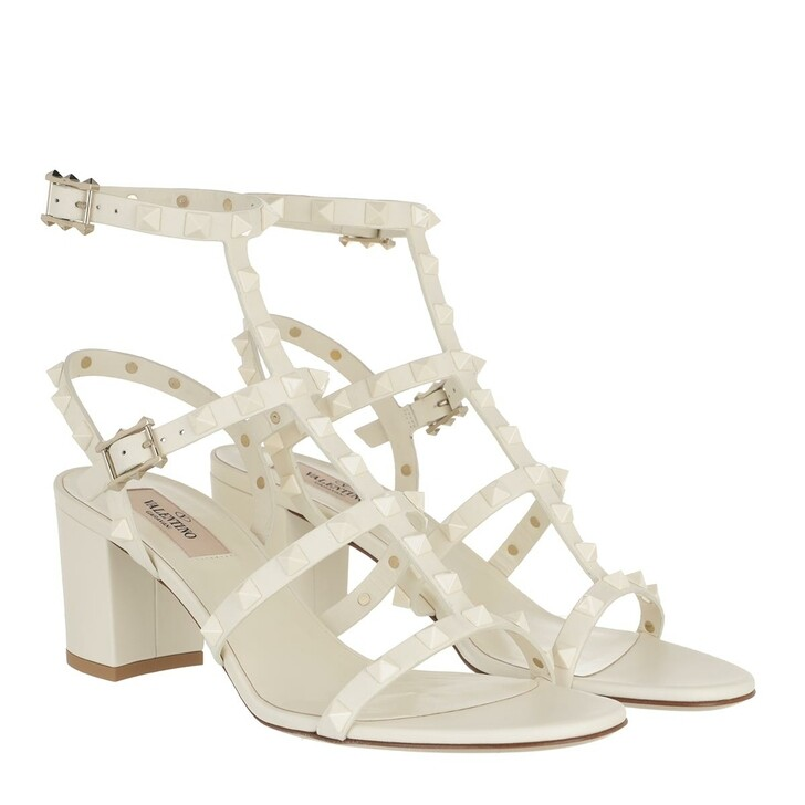Schuh, Valentino Garavani, Rockstud Sandal Leather Avorio