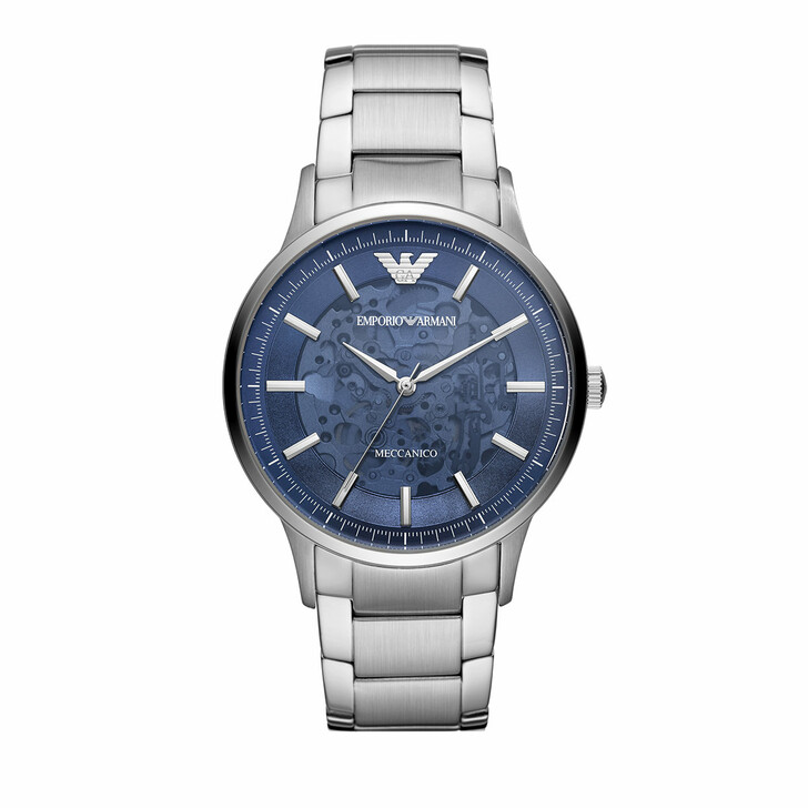 watches, Emporio Armani, Men's Automatic Three-Hand Stainless Steel Watch A Silver
