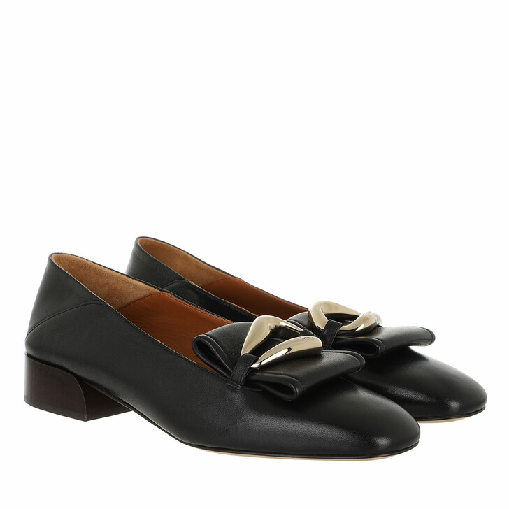 shoes, Chloé, Flat Loafers Leather Black