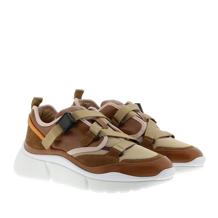 Schuh, Chloé, Sonnie Sneakers Smooth Leather Autumnal Brown