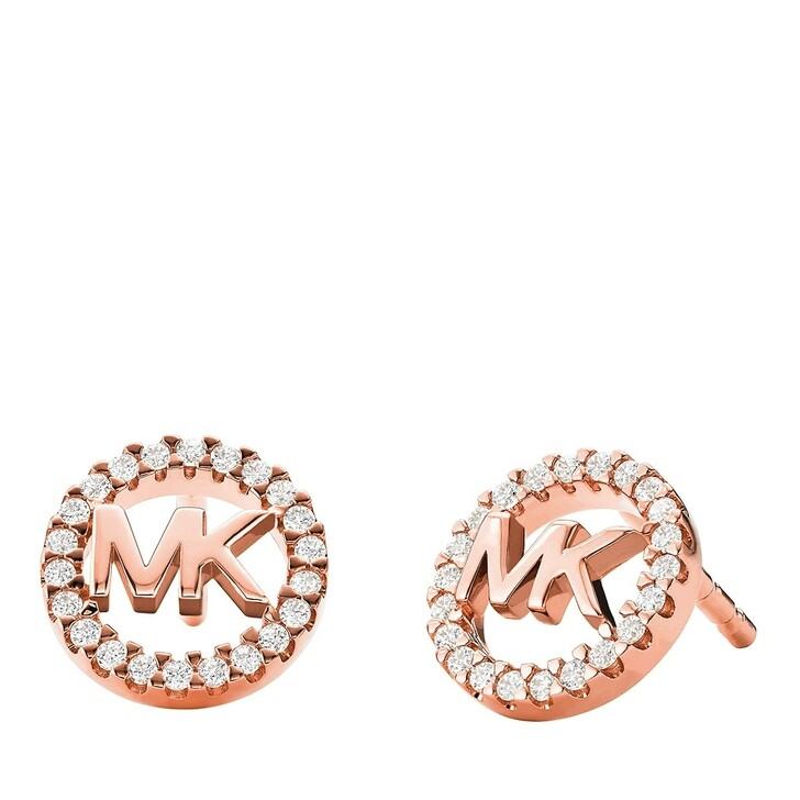 earrings, Michael Kors, Sterling Silver Logo Stud Earrings 14k Rose Gold- Plated