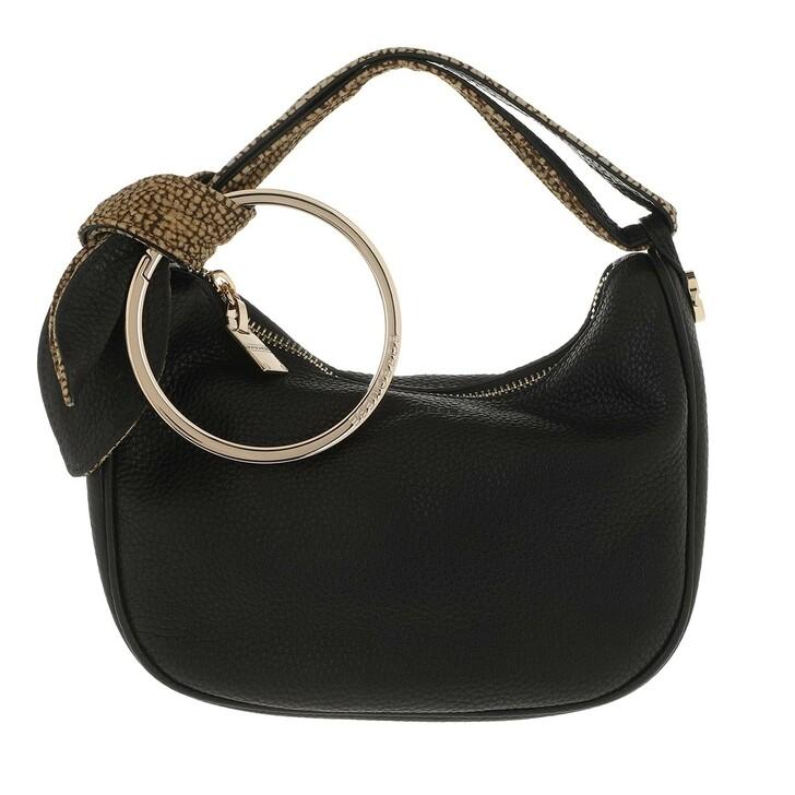Handtasche, Borbonese, Petite Luna Satchel Bag Black