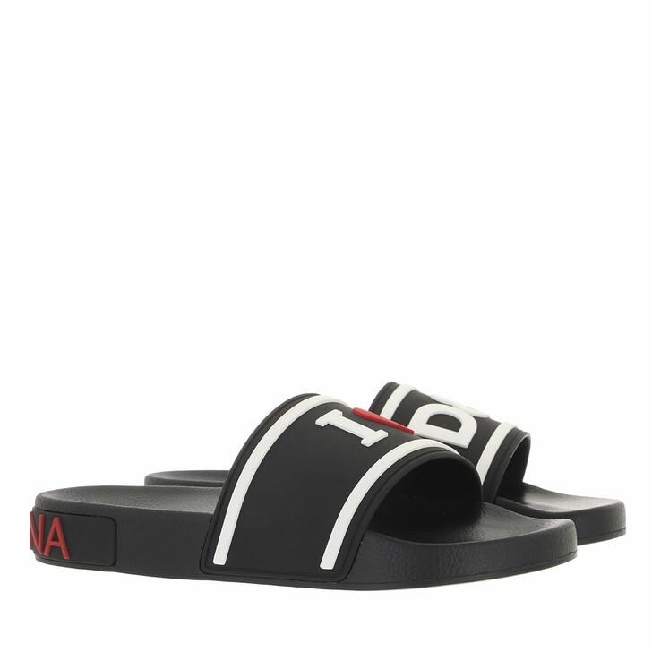 shoes, Dolce&Gabbana, Beach Slider White Black