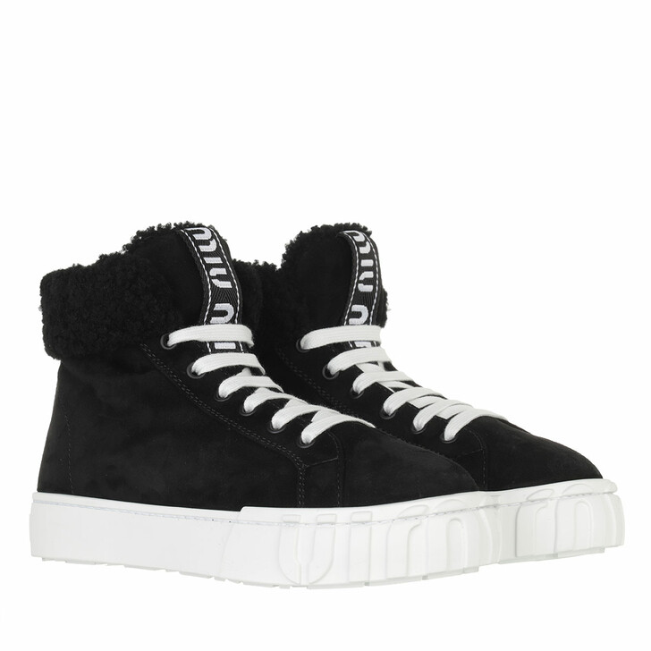 shoes, Miu Miu, High Top Sneakers Suede Black