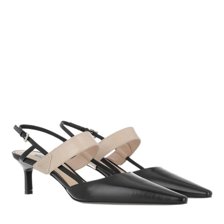 Schuh, Prada, Triangle Logo Slingback Pumps Leather Nero/Cipria