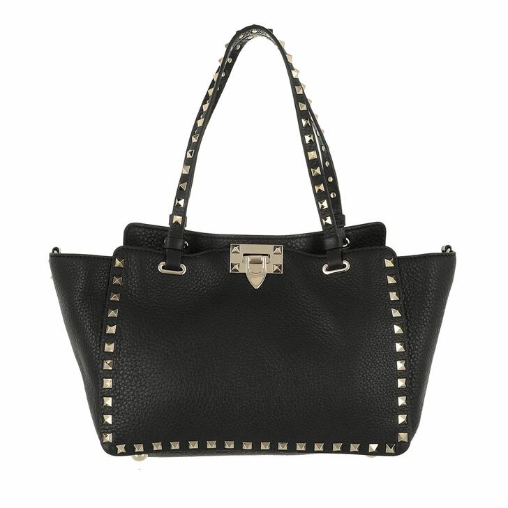 bags, Valentino Garavani, Mini Rockstud Tote Bag Black