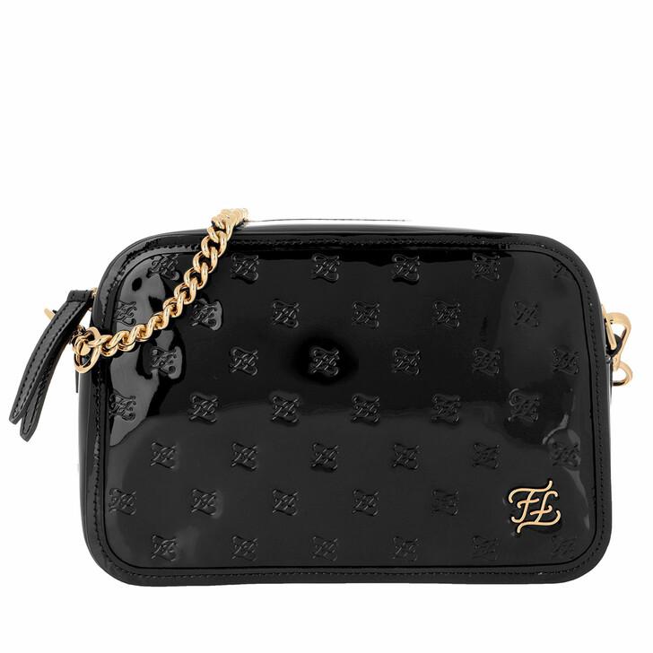 bags, Fendi, Karligraphy Embossed Patent Shoulder Bag Black Oro
