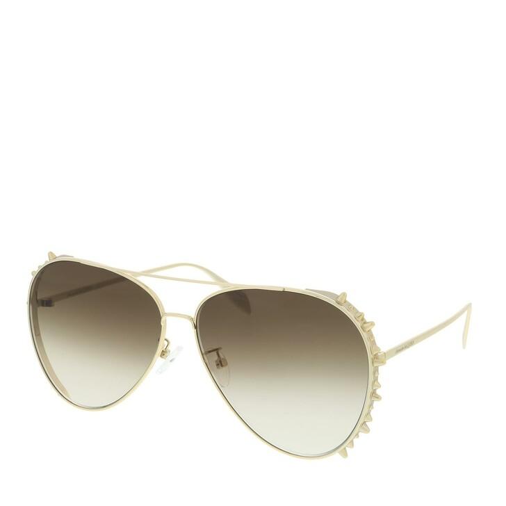Sonnenbrille, Alexander McQueen, AM0308S-002 63 Sunglass Unisex Metal Gold