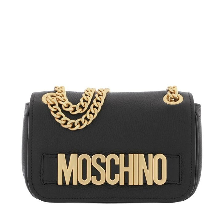 Handtasche, Moschino, Logo Crossbody Bag Flap Metal Black