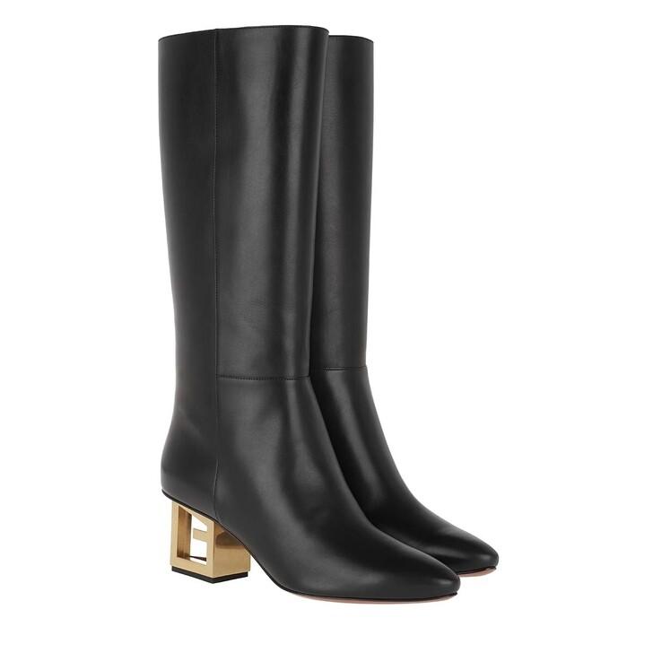 Schuh, Givenchy, W/Triangle Logo Heel Leather Black