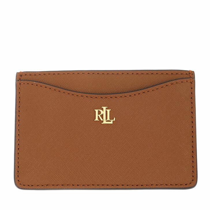 wallets, Lauren Ralph Lauren, Slim Card Case Medium Lauren Tan