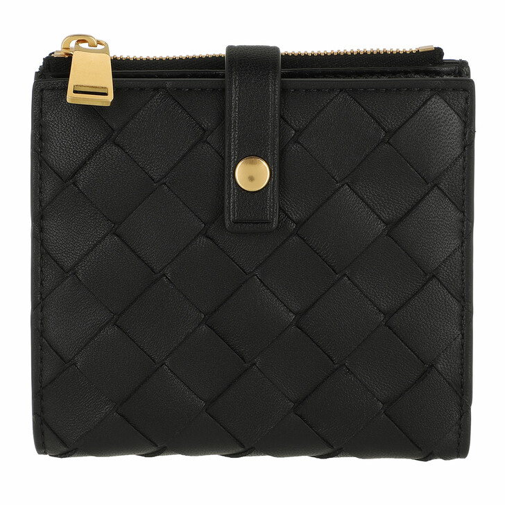 Geldbörse, Bottega Veneta, Intrecciato Continental Wallet Leather Black