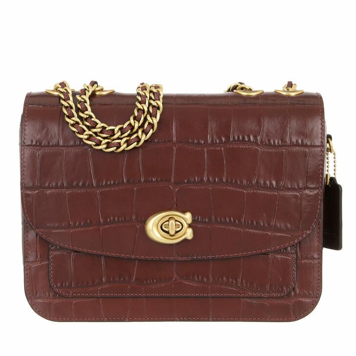 bags, Coach, Embossed Croc Madison Shoulder Bag Wine