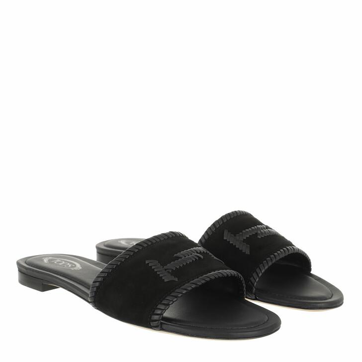 Schuh, Tod's, Logo Detail Slide Sandal Suede Black