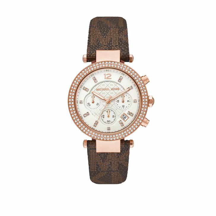 watches, Michael Kors, Ladies Parker Chronograph PVC Watch Brown