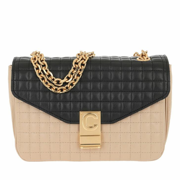 Handtasche, Celine, C Bag Medium Quilted Calfskin Nude/Black