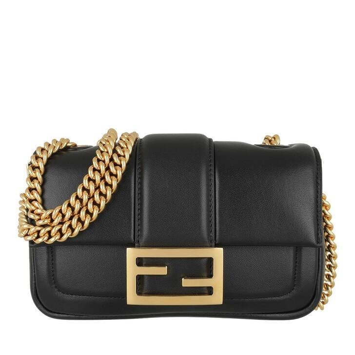 Handtasche, Fendi, Chain Crossbody Bag Leather Black/Gold