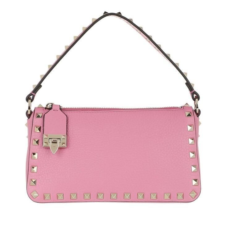 bags, Valentino Garavani, Small Rockstud Satchel Bag Leather Dawn Pink