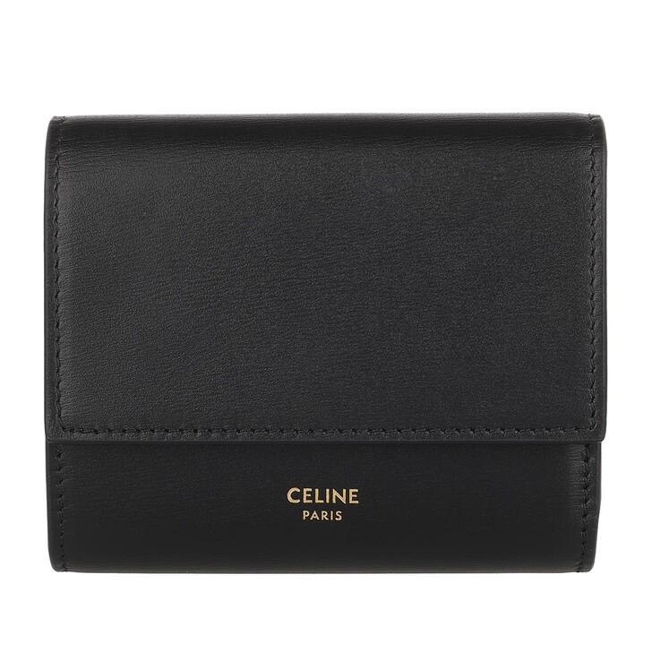 Geldbörse, Celine, Small Trifold Wallet Smooth Calfskin Black