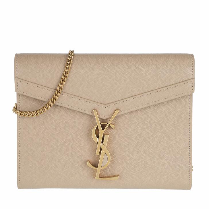 bags, Saint Laurent, Cassandra Strap Wallet Leather Dark Beige Black