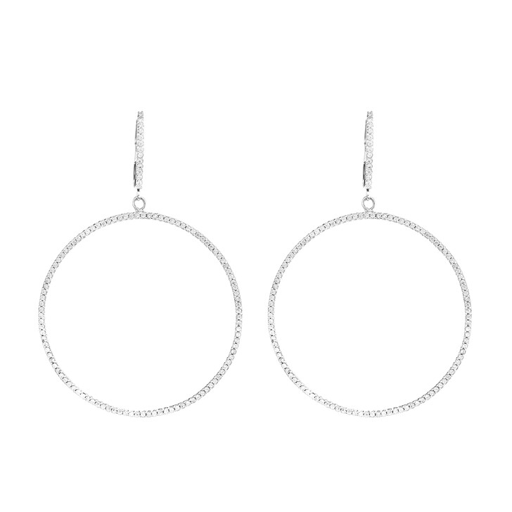 Ohrring, Leaf, Earring Celebration Circle Large Silver