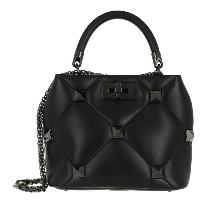 bags, Valentino Garavani, Small Roman Stud The Handle Bag Leather Black
