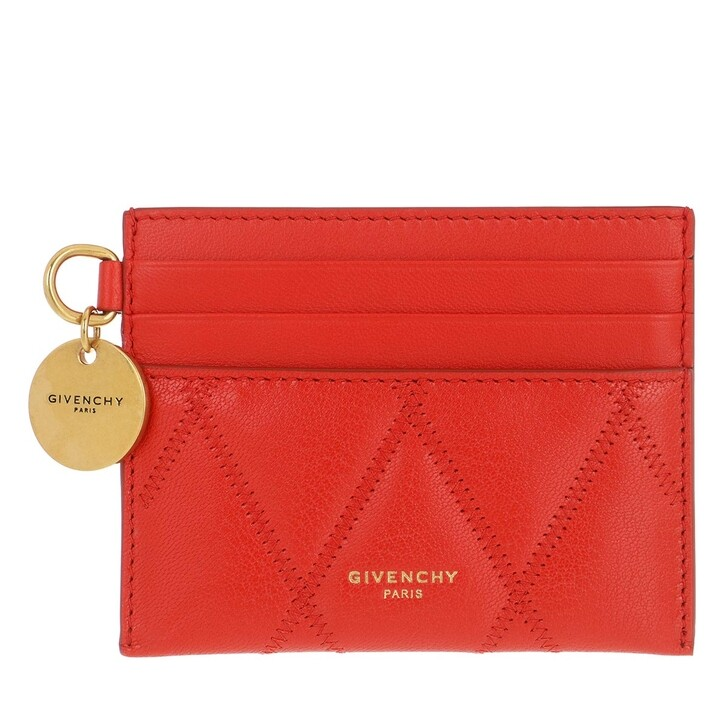 wallets, Givenchy, GV3 Card Holder Diamond Quilted Leather Light Red