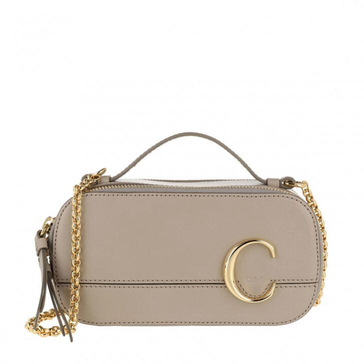 bags, Chloé, C Vanity Mini Crossbody Bag Smooth Leather Motty Grey