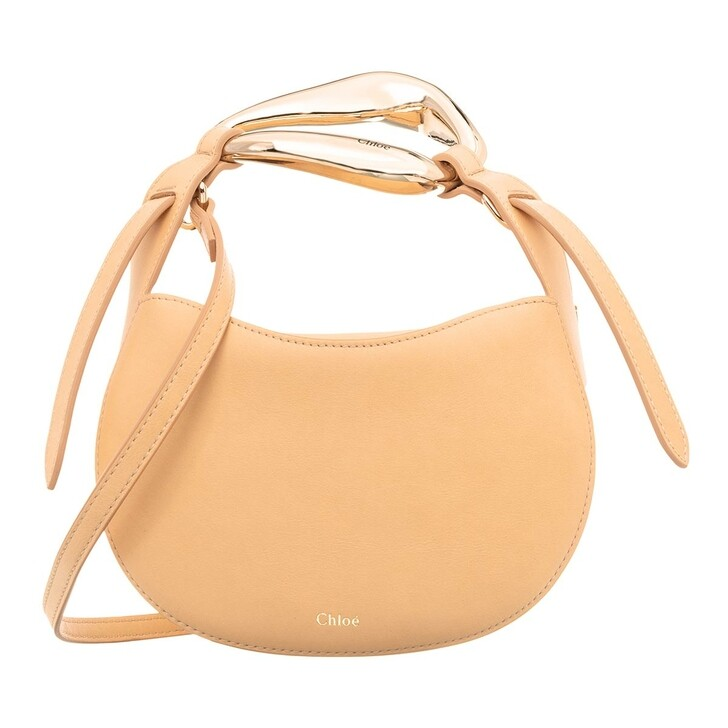 Handtasche, Chloé, Small Kiss Shoulder Bag Grained Leather Sandy Beige