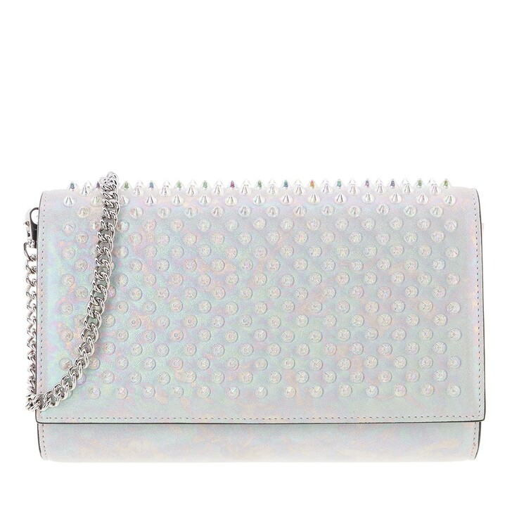 Handtasche, Christian Louboutin, Paloma Clutch Spikes Leather White