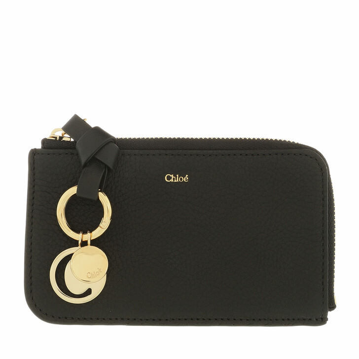 Geldbörse, Chloé, Plain Small Coin Cases Calfskin Black