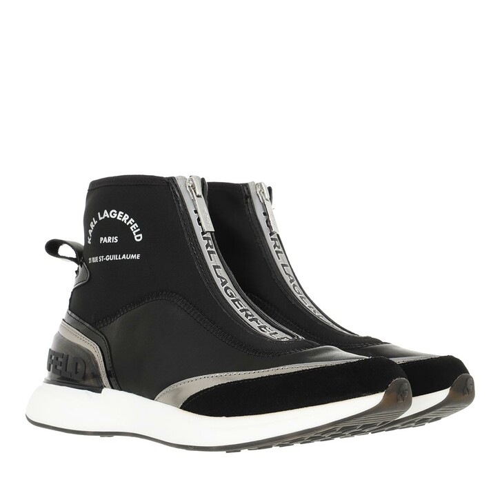 shoes, Karl Lagerfeld, FINESSE Legere Zip Leather Black Leather & Text with Silver
