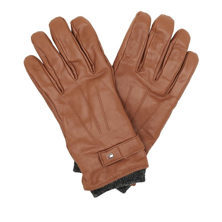 Handschuh, Tommy Hilfiger, Elevated Flag Leather Mix Gloves Cognac