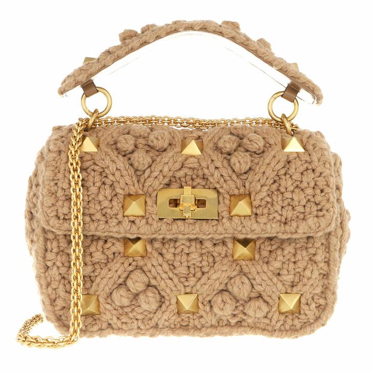 bags, Valentino Garavani, Roman Stud Medium Crossbody Bag Cashmere