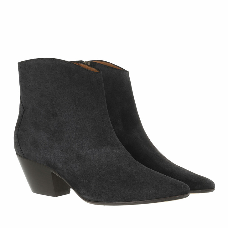 shoes, Isabel Marant, Dacken Ankle Boots Suede Leather Faded Black