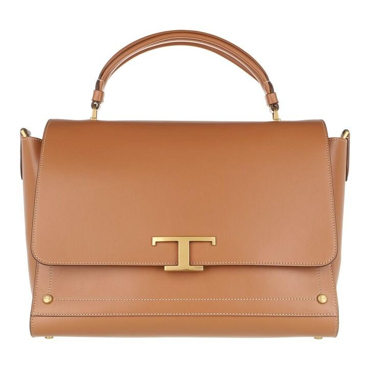 Handtasche, Tod's, Medium Logo Crossbody Bag Leather Camel