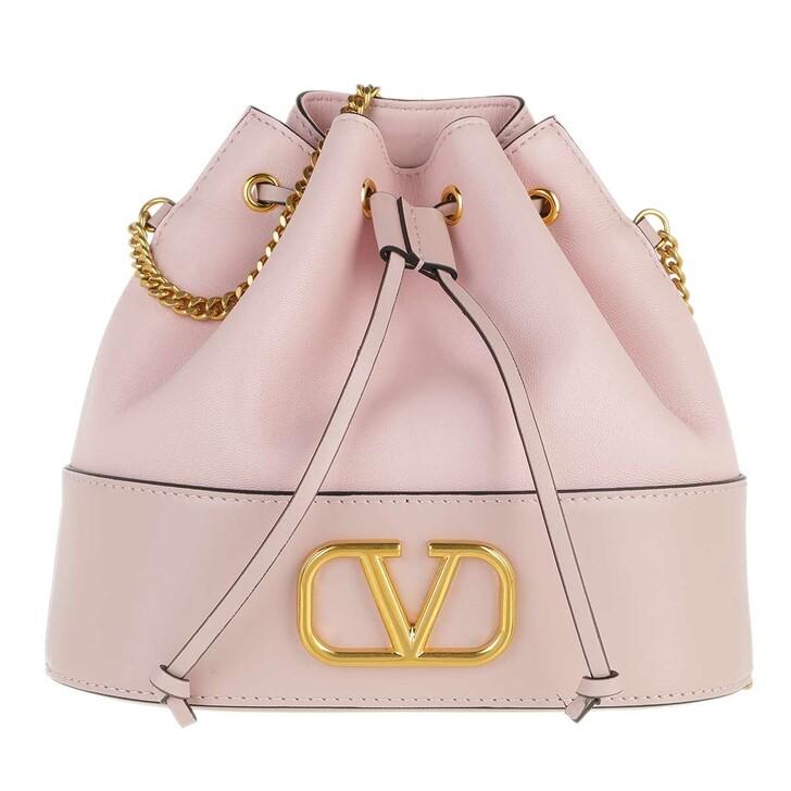 bags, Valentino Garavani, V Logo Bucket Bag Leather Poudre