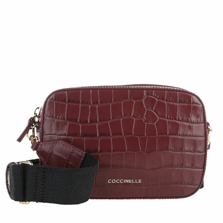 Handtasche, Coccinelle, Mini Bag Shiny Soft Croco Print Marsala