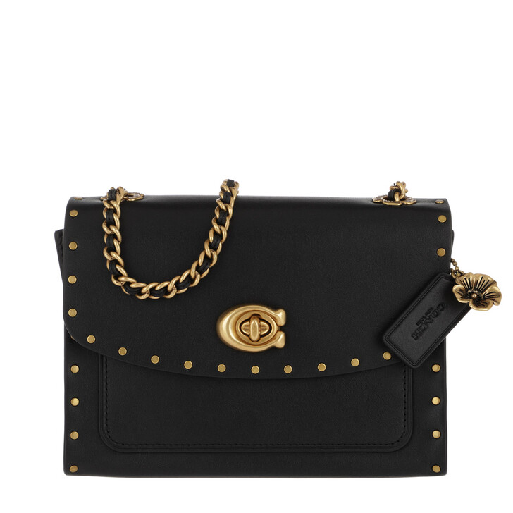 Handtasche, Coach, Border Rivets Parker 18 Shoulder Bag Black