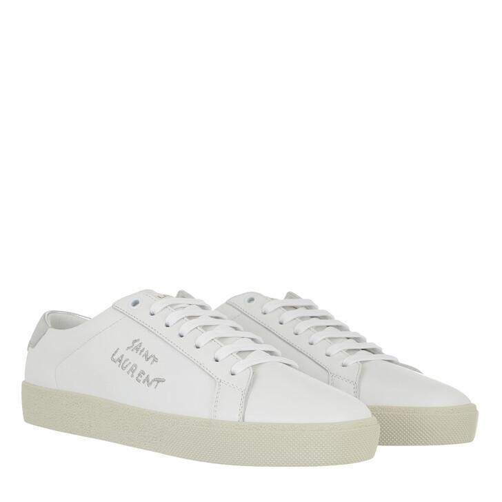 Schuh, Saint Laurent, Logo Sneakers Blanc Optique Argent