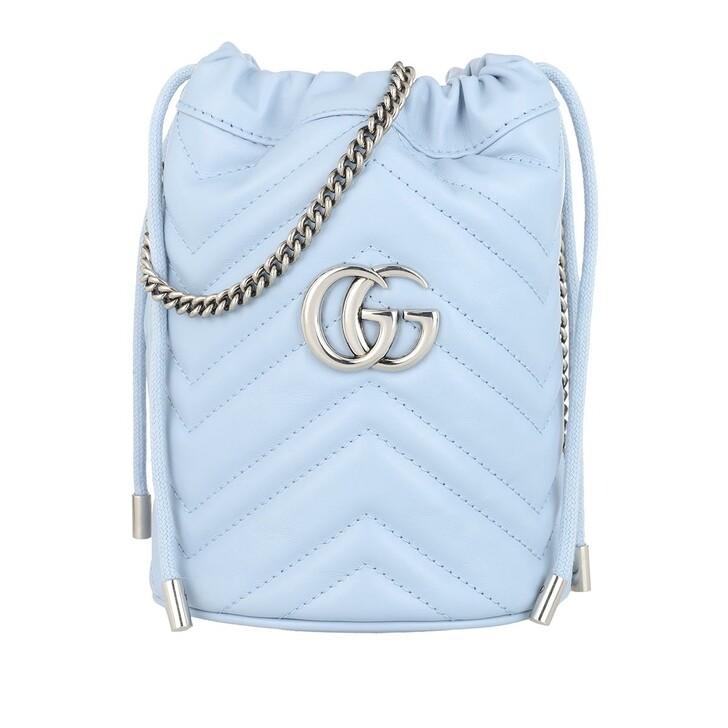 Handtasche, Gucci, GG Marmont Mini Bucket Bag Leather Light Blue