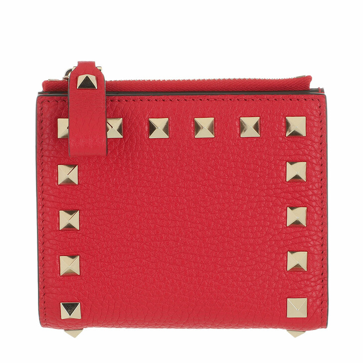wallets, Valentino Garavani, Rockstud Flap French Compact Wallet Leather Rouge Pur